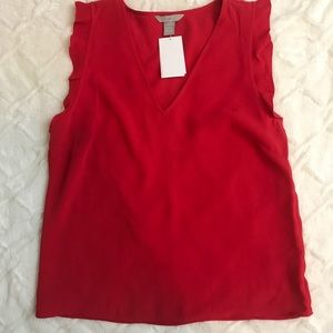 Red H&M short sleeve blouse top